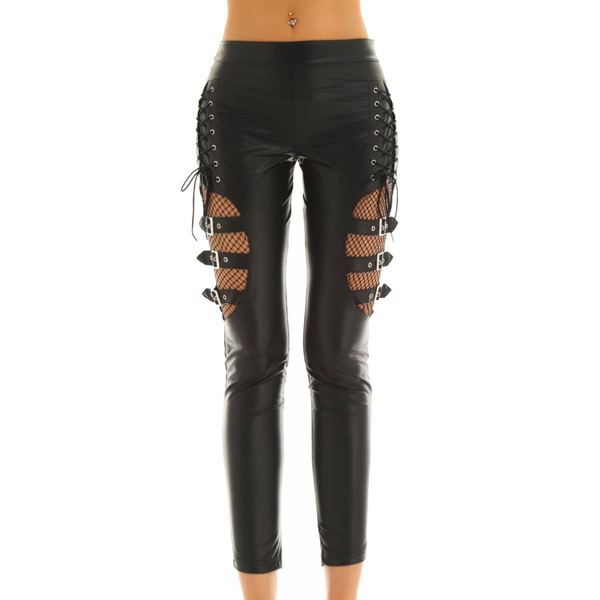 Women's Black Faux Leather Pants / Slim Stretchy Trousers in Black / Long Steampunk Fashion Pants - HARD'N'HEAVY