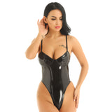 Women's Black Patent Leather Sexy Bodysuit / Adjustable Straps Push-Up High Cut Thong Bodysuits - HARD'N'HEAVY