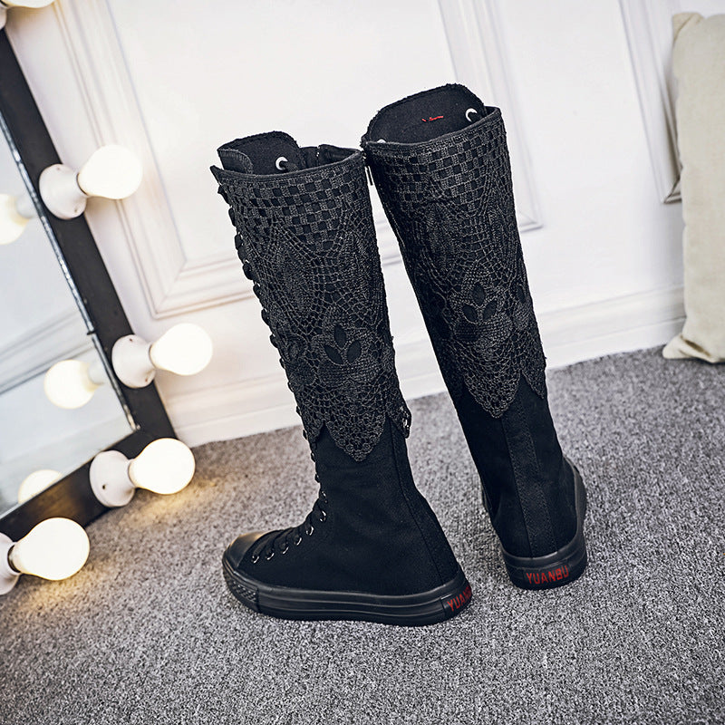 Women's Canvas Steampunk Boots / Alternative Fashion High Knee Girl's Boots - HARD'N'HEAVY