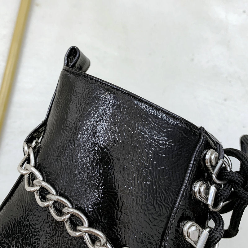 Women's CHain Ankle Boots / Autumn-Winter-Spring Lace Up Women Shoes - HARD'N'HEAVY