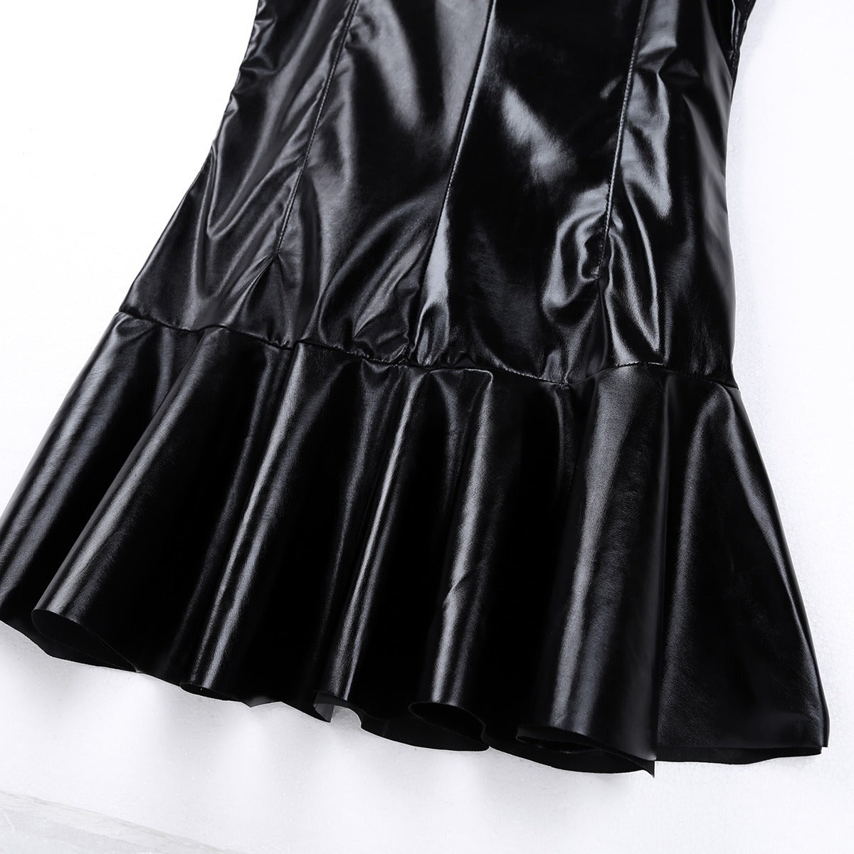 Womens Cocktail Dresses  in Black / Wetlook Babydoll PU Leather High Collar Bottom Flare Mini Dress - HARD'N'HEAVY