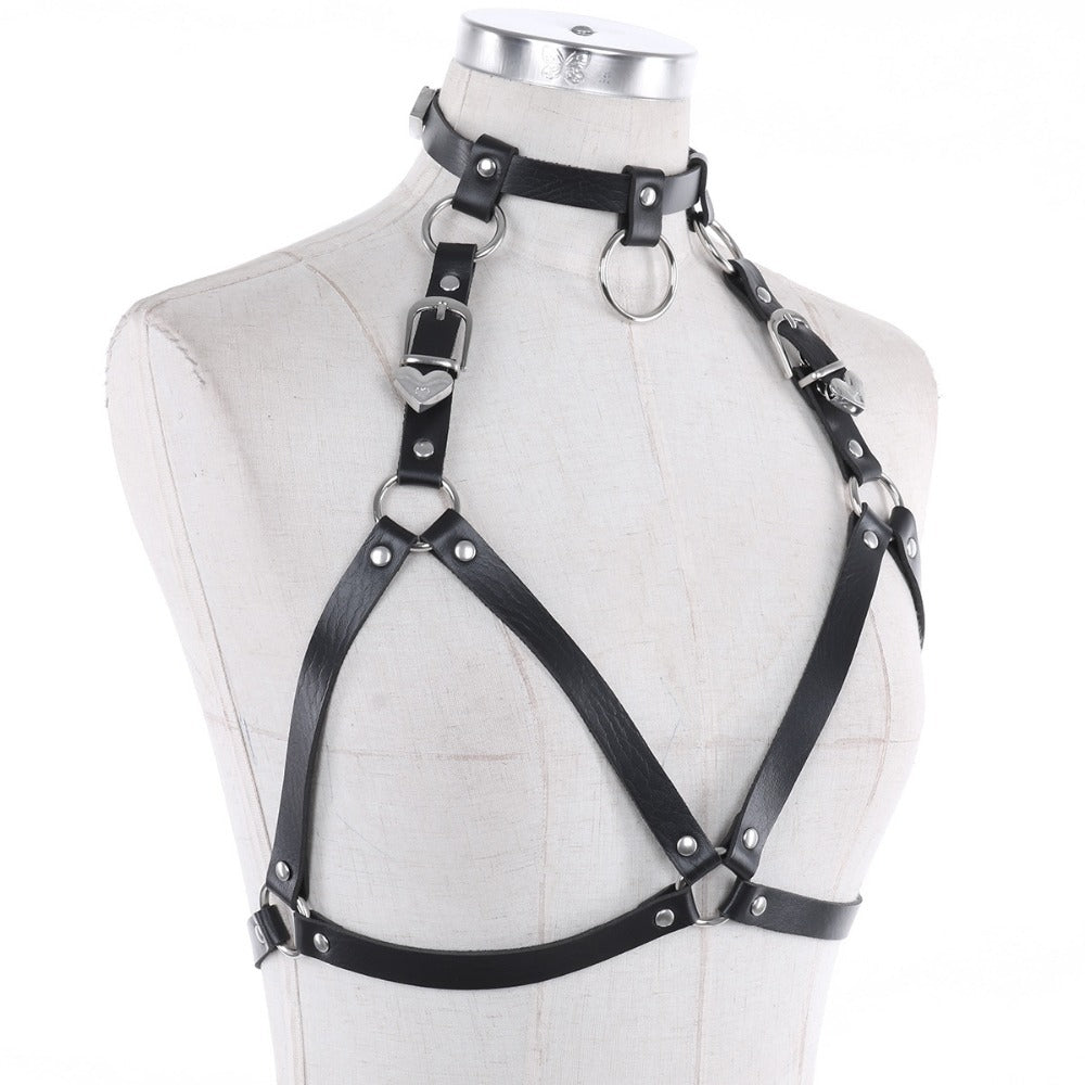 Women's Faux Leather Adjustable Body Chest Harness / Ladies Hot Sexy Gothic Caged Bra Waist Belt - HARD'N'HEAVY