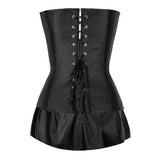 Women's Faux Leather Zipper Front Bustier Corset Dress / Plus Size Gothic Corset Tops With Skirt - HARD'N'HEAVY