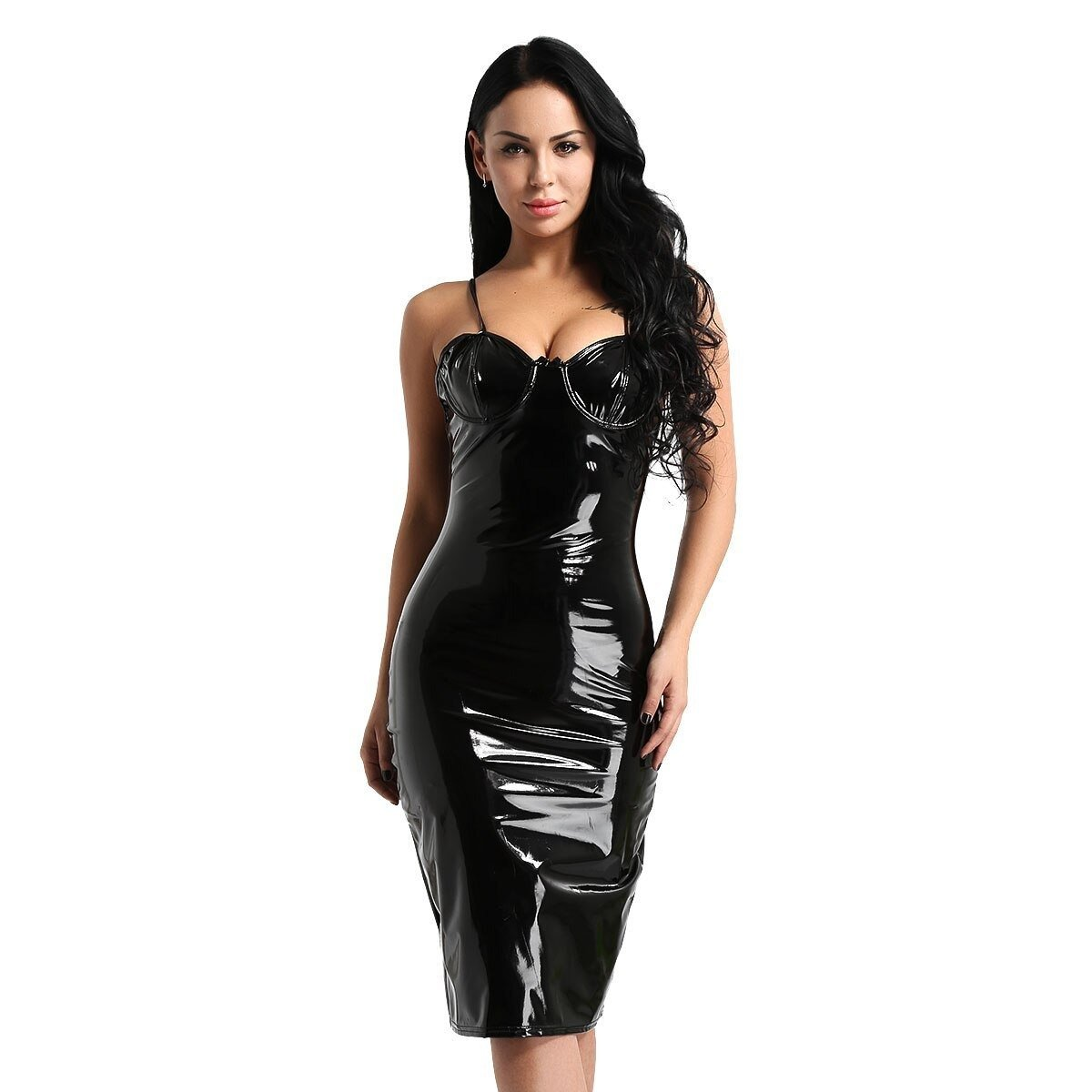 Womens Gothic Dress / Wetlook Faux Leather Dress with G-String - HARD'N'HEAVY