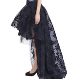 Women's Gothic Skirt / Female Steampunk Maxi Lace Floral Ball Skirts / Vintage Gothic Clothing - HARD'N'HEAVY