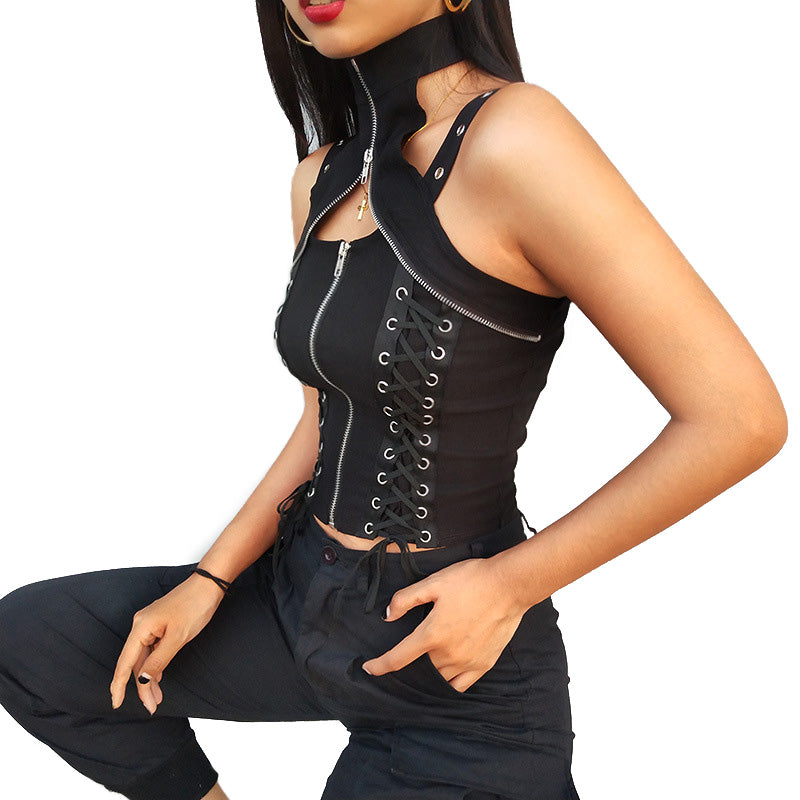 Women's Gothic Tops / Cross Zipper Up Sleeveless Top / Sleeveless Zipper Choker - HARD'N'HEAVY