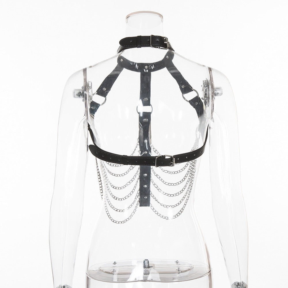 Women's Leather Body Harness / Rave Festival Top With Choker / Sexy Summer Body Harness Fashion - HARD'N'HEAVY
