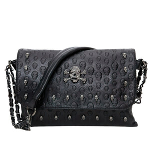 Women's Leather Gothic Handbag / Rivet Skull Shoulder Bag / Female Leather Accessories