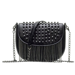 Women's Leather Shoulder Bags with Diamonds Decorations / Elegant Rivet Shoulder Bag