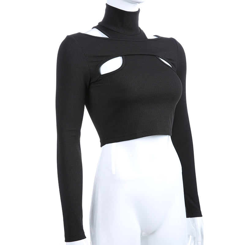 Women's Long Sleeve Crop Top in Black Color / Sexy Female Gothic Clothing with Turtleneck Collar - HARD'N'HEAVY