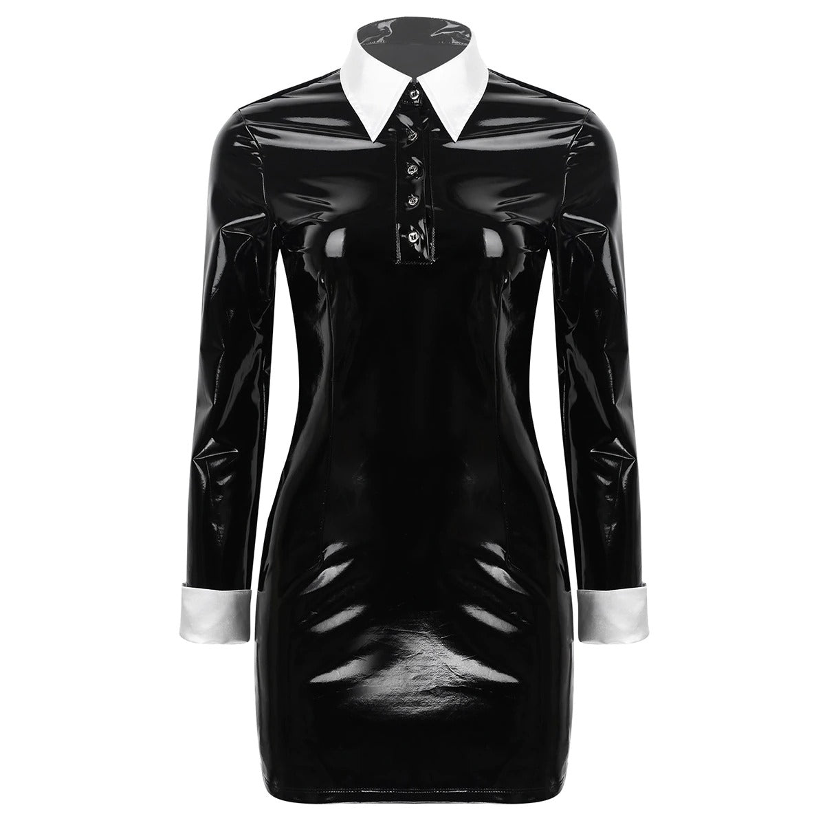 Women's Long Sleeve Mini Leather Bodycon Dress Costume / Sexy Gothic Black Latex Babydoll Dress - HARD'N'HEAVY