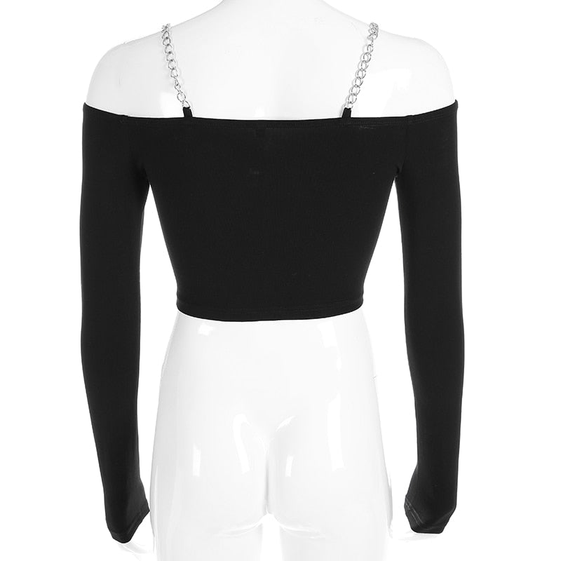 Women's Long Sleeve Off The Shoulder Crop Top / Sexy Slash Neck Tops / Rocker Chic Clothing - HARD'N'HEAVY