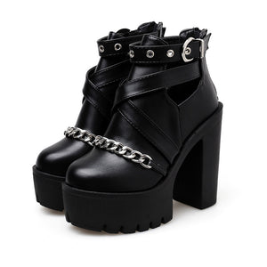 Women's Platform Ankle Boots with Chain from Front / Gothic Waterproof Platform High Heel Shoes