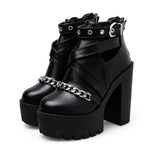 Women's Platform Ankle Boots with Chain from Front / Gothic Waterproof Platform High Heel Shoes - HARD'N'HEAVY