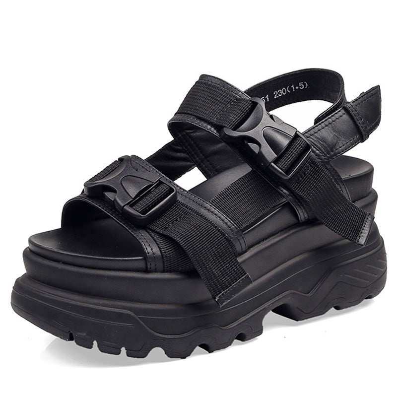 Women's Platform Sandals Shoes / Thick-Soled Wedge Heels Shoes / Buckle Beach Slides Sandals - HARD'N'HEAVY