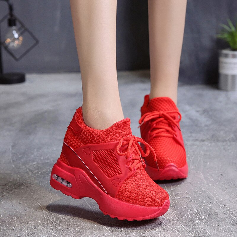 Women's Platform Wedge Sneakers / Breathable High Heel Mesh Shoes - HARD'N'HEAVY