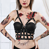 Womens PU Leather Black Top Body Harness / Body Chest Harness with Adjustable Strap Accessories - HARD'N'HEAVY