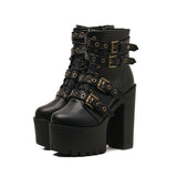 Women's Rivet Boots with Classic Thick Bottom / Thick Heel Waterproof Platform Boots in Gothic Style - HARD'N'HEAVY