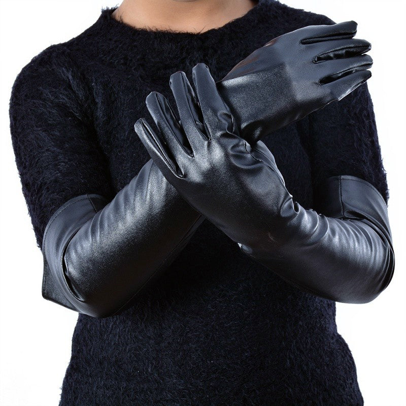 Women's Rock Style Faux Leather Elbow Gloves / Winter Long Warm Lined Finger Gothic Style Gloves - HARD'N'HEAVY