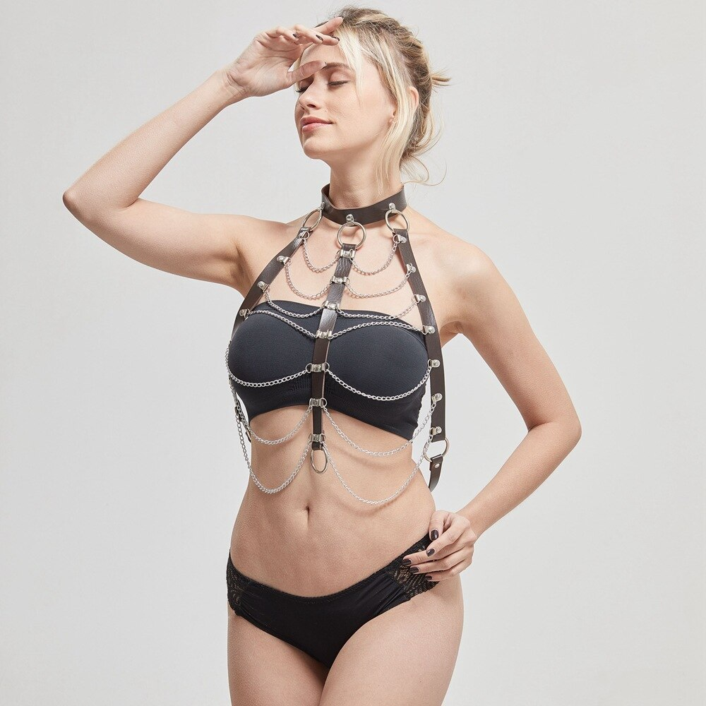 Women's Sexy Bondage in Alternative Fashion / Hollow Out PU Strap Necklace Body Harness with Chain - HARD'N'HEAVY