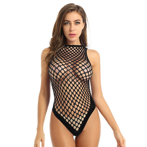 Women's Sexy One-piece See Through Hollow Out Netted Bodysuits / Female Erotic Clothing - HARD'N'HEAVY
