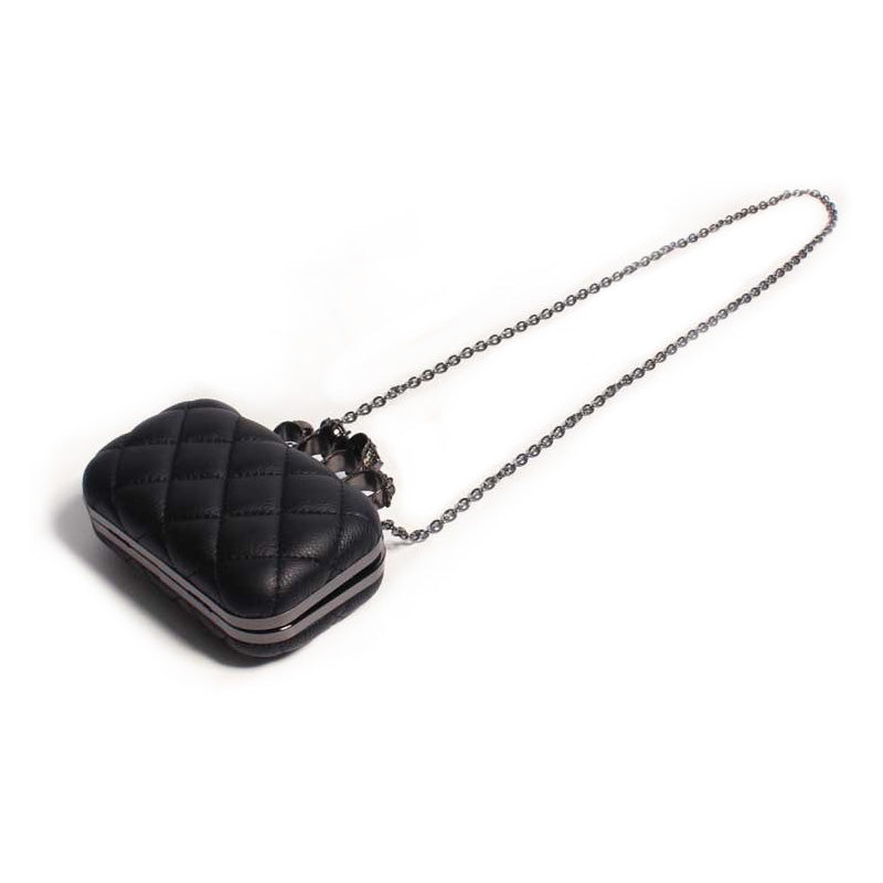 Women's Skull Ring Purse / Vintage plaid Luxury party Clutch Purse