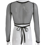 Women's Solid Knit Top / Sexy Black Long Sleeve Perspective Mesh Streetwear / Gothic Clothing - HARD'N'HEAVY