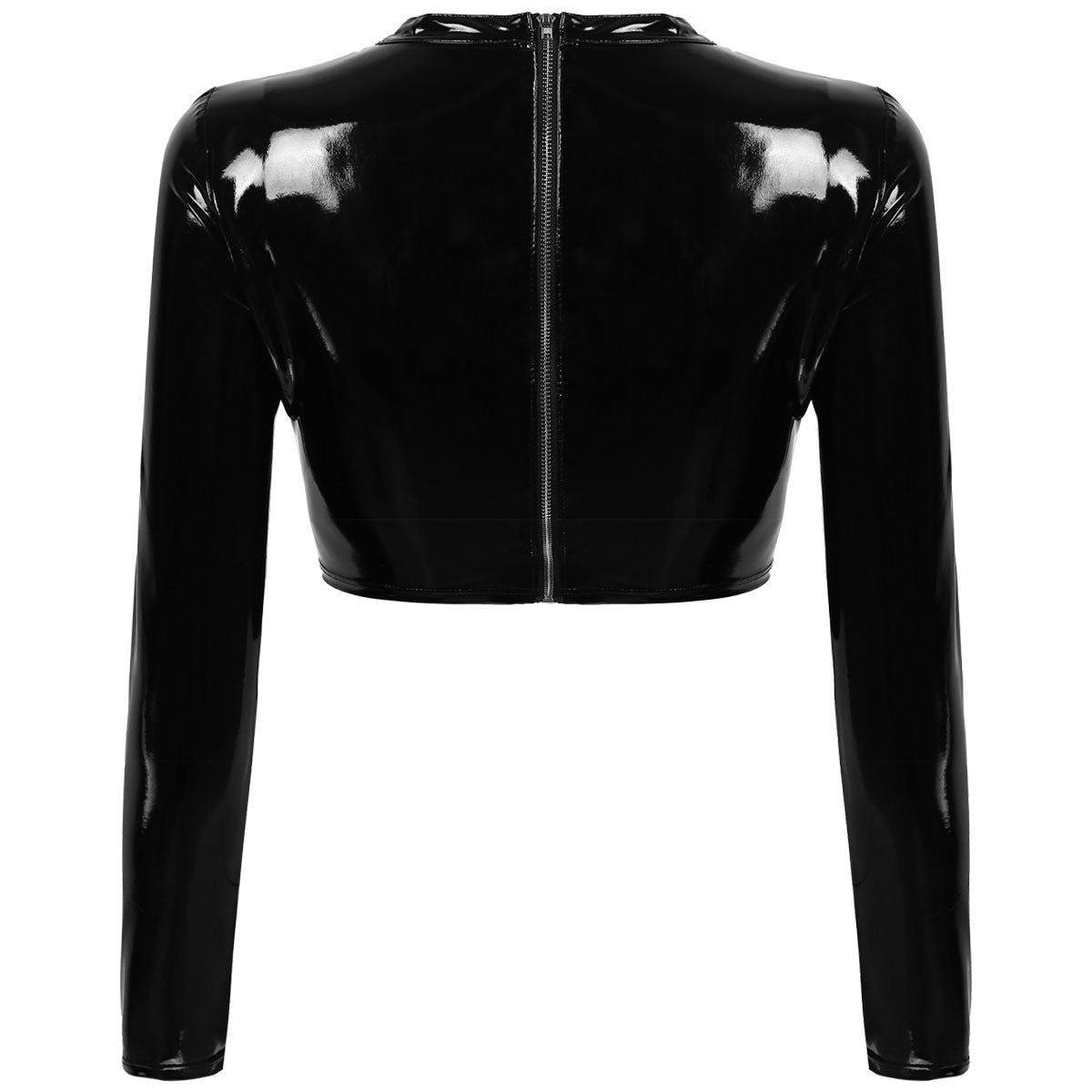 Women's Wet Look Fashion Tops / Patent Leather Hollow Out Front with Buckles Gothic Crop Top - HARD'N'HEAVY