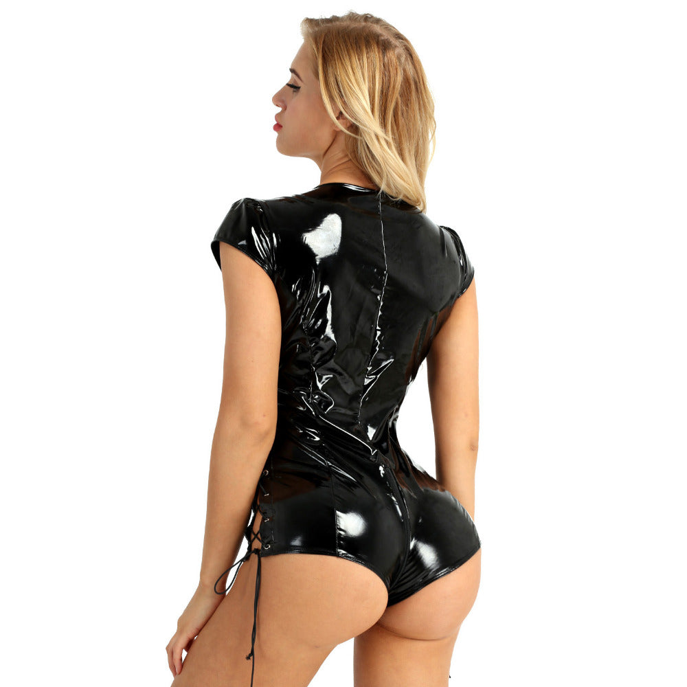 Women's Wet Look One-piece Evening Bodysuit / Sleeve Deep V Plunging Lace-up Zipper Crotch Jumpsuit - HARD'N'HEAVY