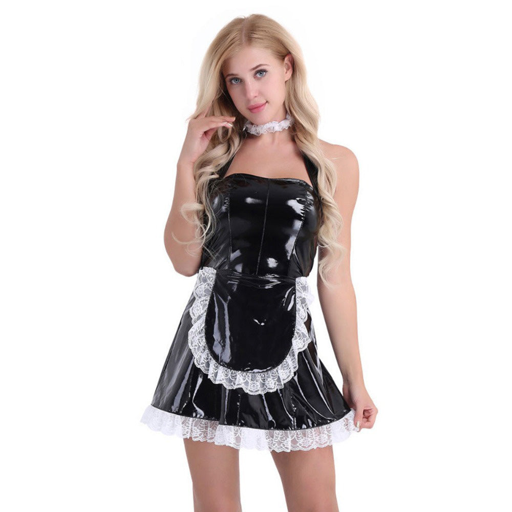 Women's Wet Look Patent Leather Maid Dress Cosplay Costumes / Maid Servant Outfits Halter Dress - HARD'N'HEAVY