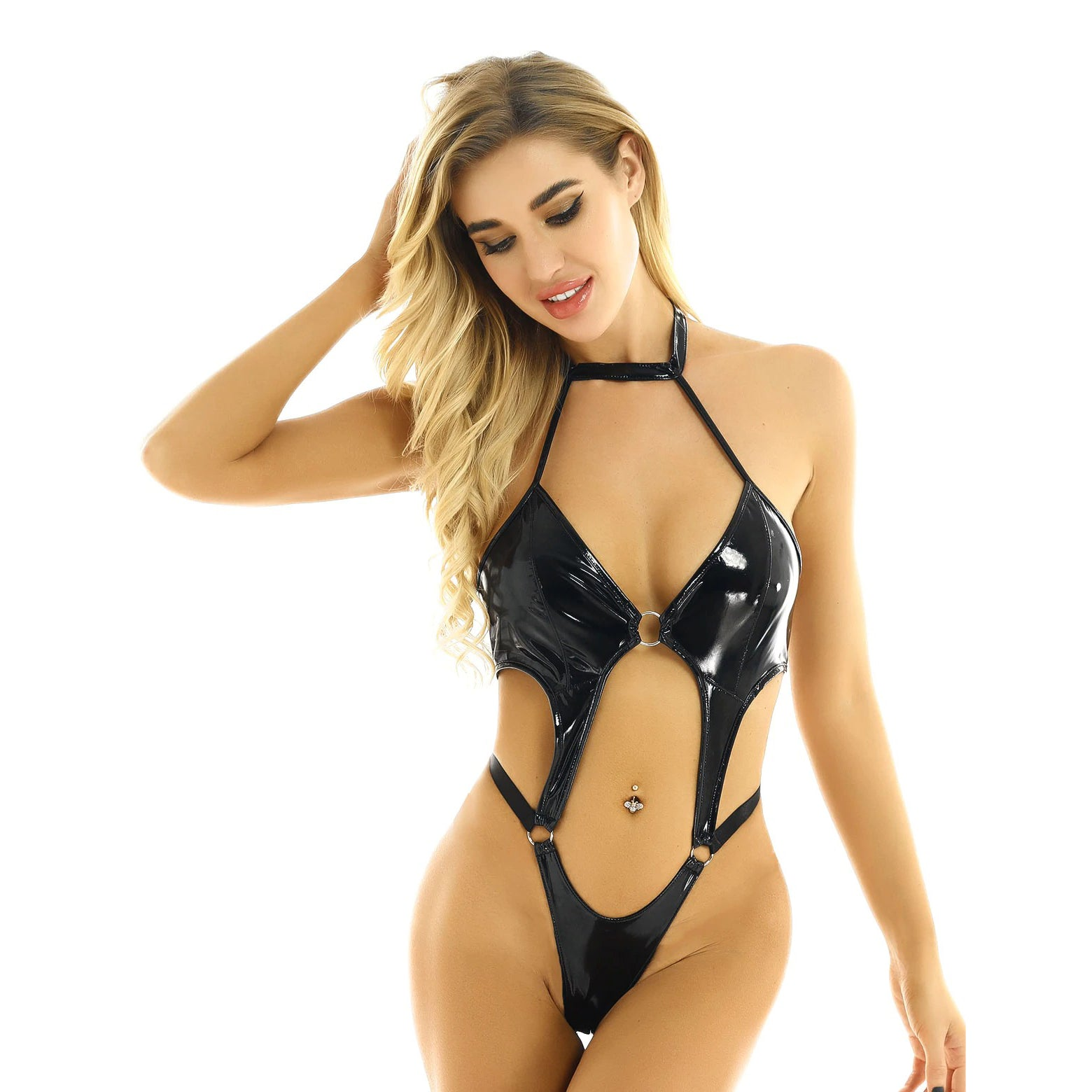 Women's Wetlook Leather Backless High Cut Bodysuit / Female Rave Outfits in Black - HARD'N'HEAVY
