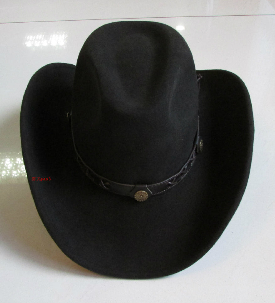 Wool Bowler Hat / Male Fedoras Cowboy Cap / Wide Brim Men's Rock Fashion / Rave outfits - HARD'N'HEAVY