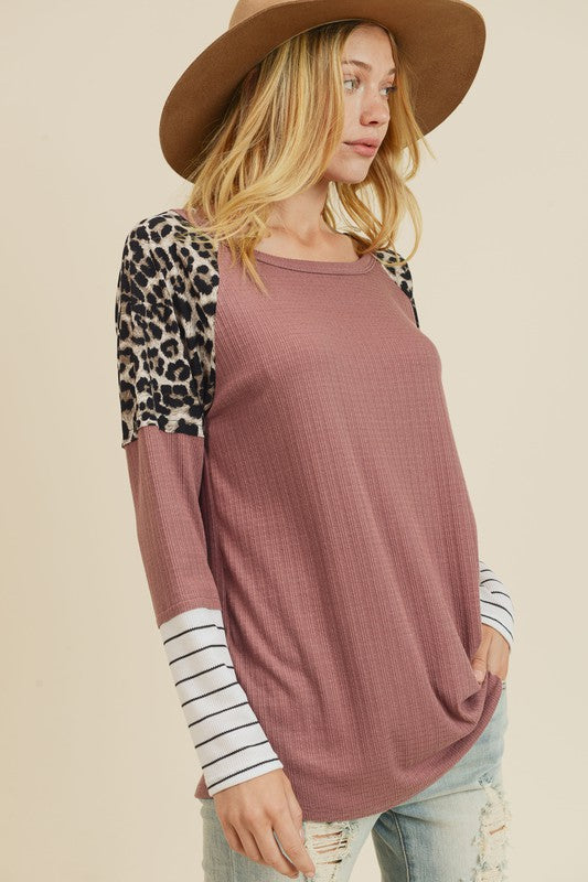 Mixed Pattern Knit Top