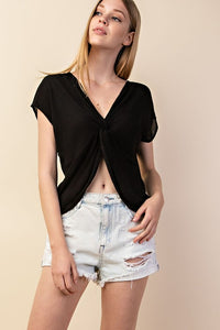 Twisted Front Woven Top