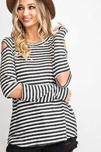 Stripe Open Sleeve Top
