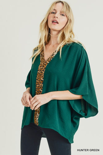 Hunter Green and Leopard Top