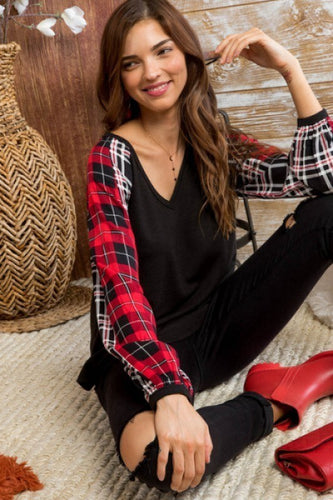 Mad About Plaid Sleeve Top
