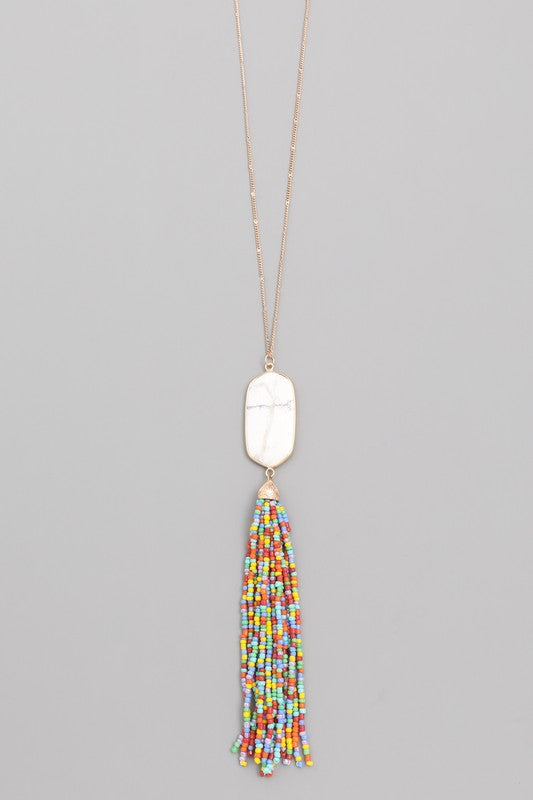 Stone Tassel Necklace - Assorted Colors