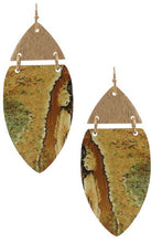 Load image into Gallery viewer, Wood & Metal Drop Earrings - Assorted Colors