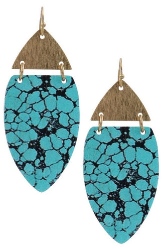 Wood & Metal Drop Earrings - Assorted Colors