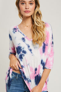 Pink & Blue Tie Dyed Top