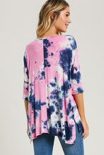 Load image into Gallery viewer, Pink & Blue Tie Dyed Top