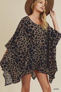 Leopard Knit Poncho Top
