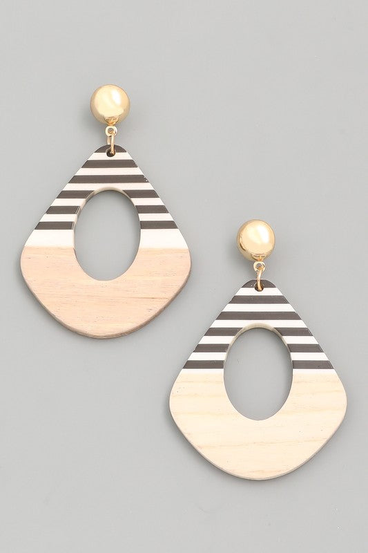 Striped & Wood Earrings - Assorted Colors