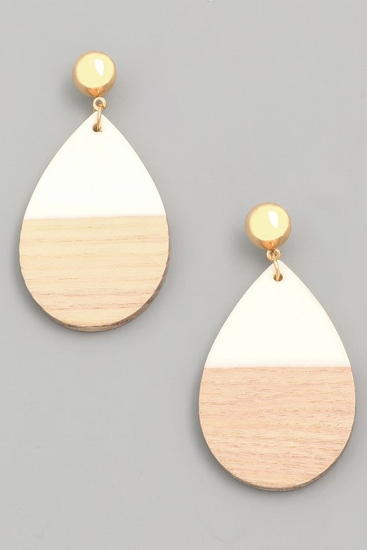 Wood & Acrylic Drop Earrings - Assorted Colors