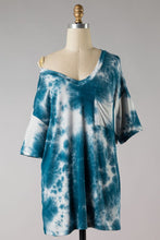 Load image into Gallery viewer, Teal Tie Dye Top