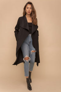 Drape Neck Trench Coat