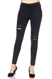 Distressed Black Jeggings
