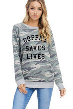 Load image into Gallery viewer, Coffee Saves Lives Camo Top