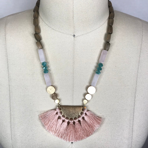 Fringe & Bead Necklace - Multiple Colors